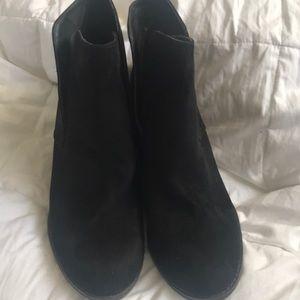 Women's black suede wedge bootie